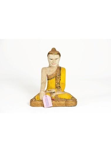 Catit Ahşap El Yapımı Oturan Aydınlanma Sürecini Anlatan Duruşu Buda Heykeli Biblo 44 Cm Renkli